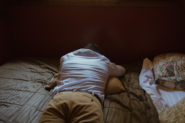 Twenty Mile House wedding groomsmen napping