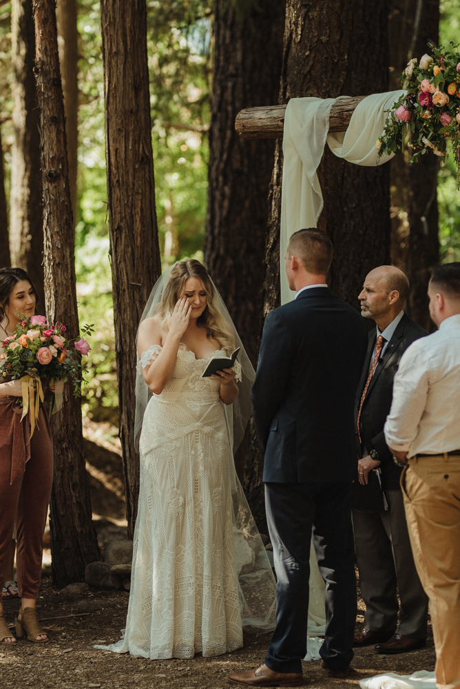 Twenty Mile House wedding ceremony photo, bride saying his vows