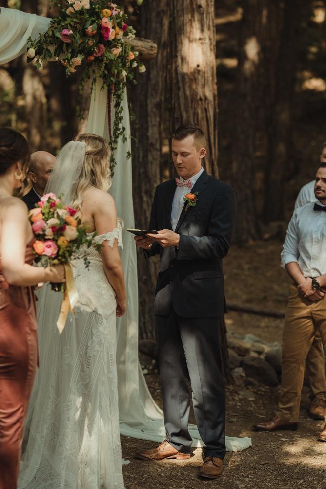 Twenty Mile House wedding ceremony photo, groom saying his vows