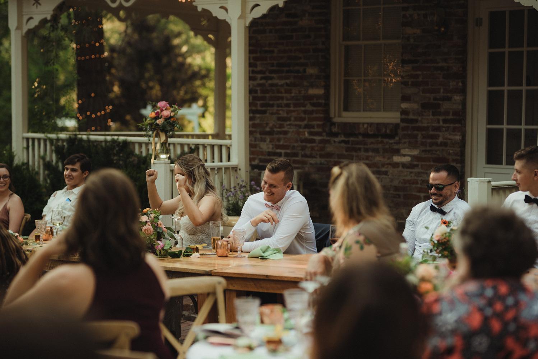 Twenty Mile House wedding couple laughing photo
