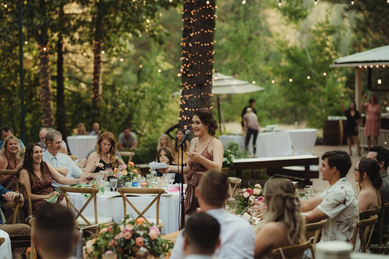 Twenty Mile House wedding MOH during toasts photo