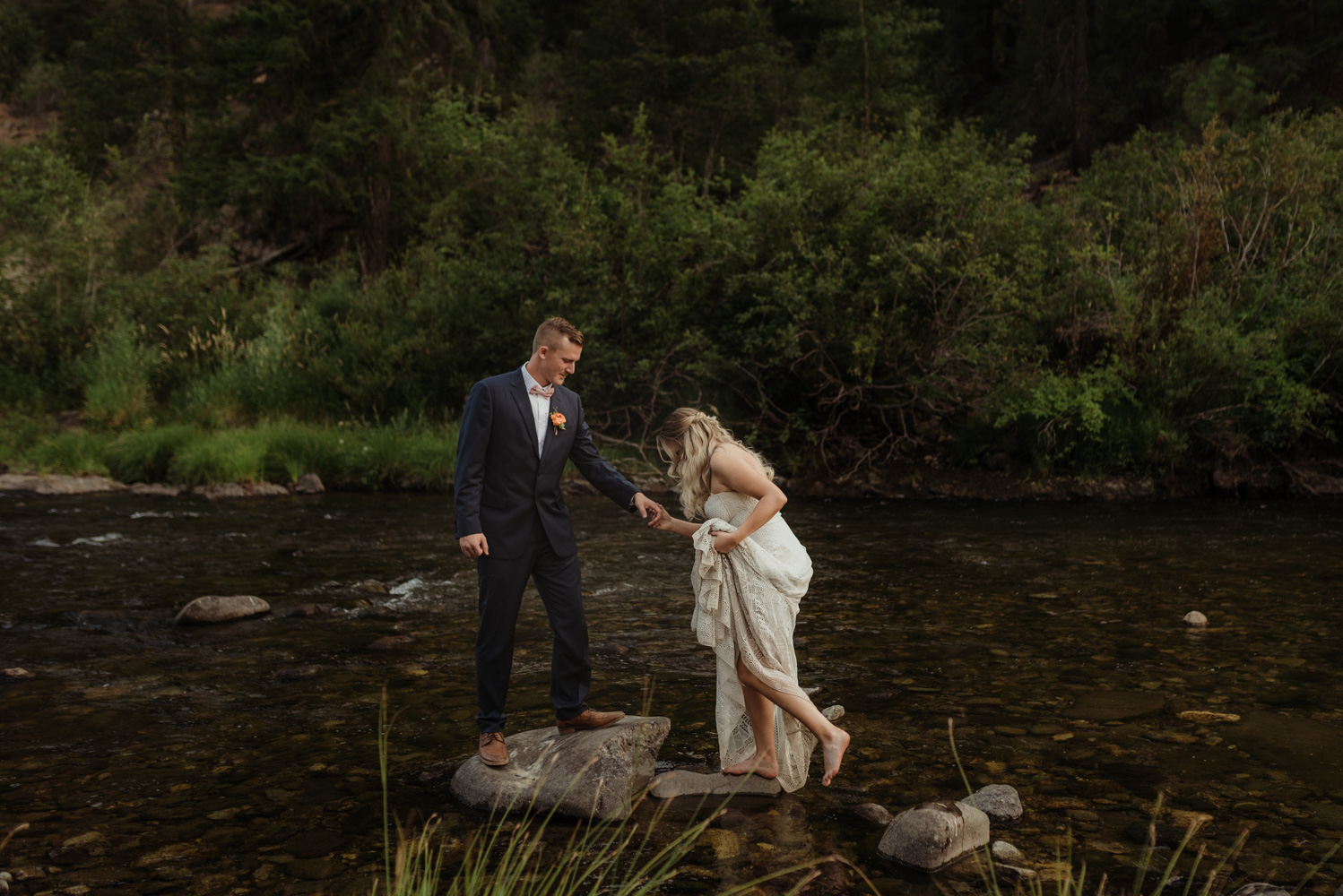 Twenty Mile House wedding couples photos by the river