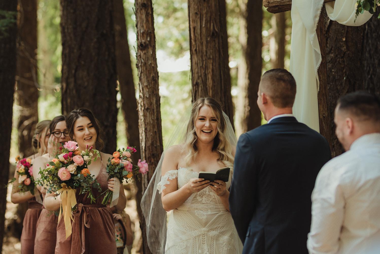 Twenty Mile House wedding bride smiling photo
