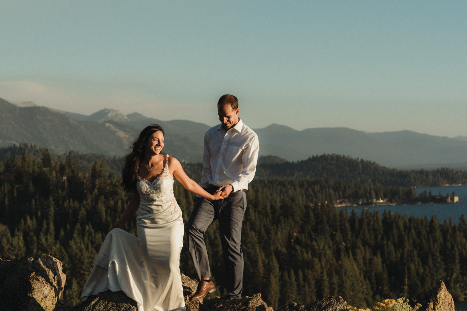 Lake Tahoe couples session, couple on top of cave rock photo