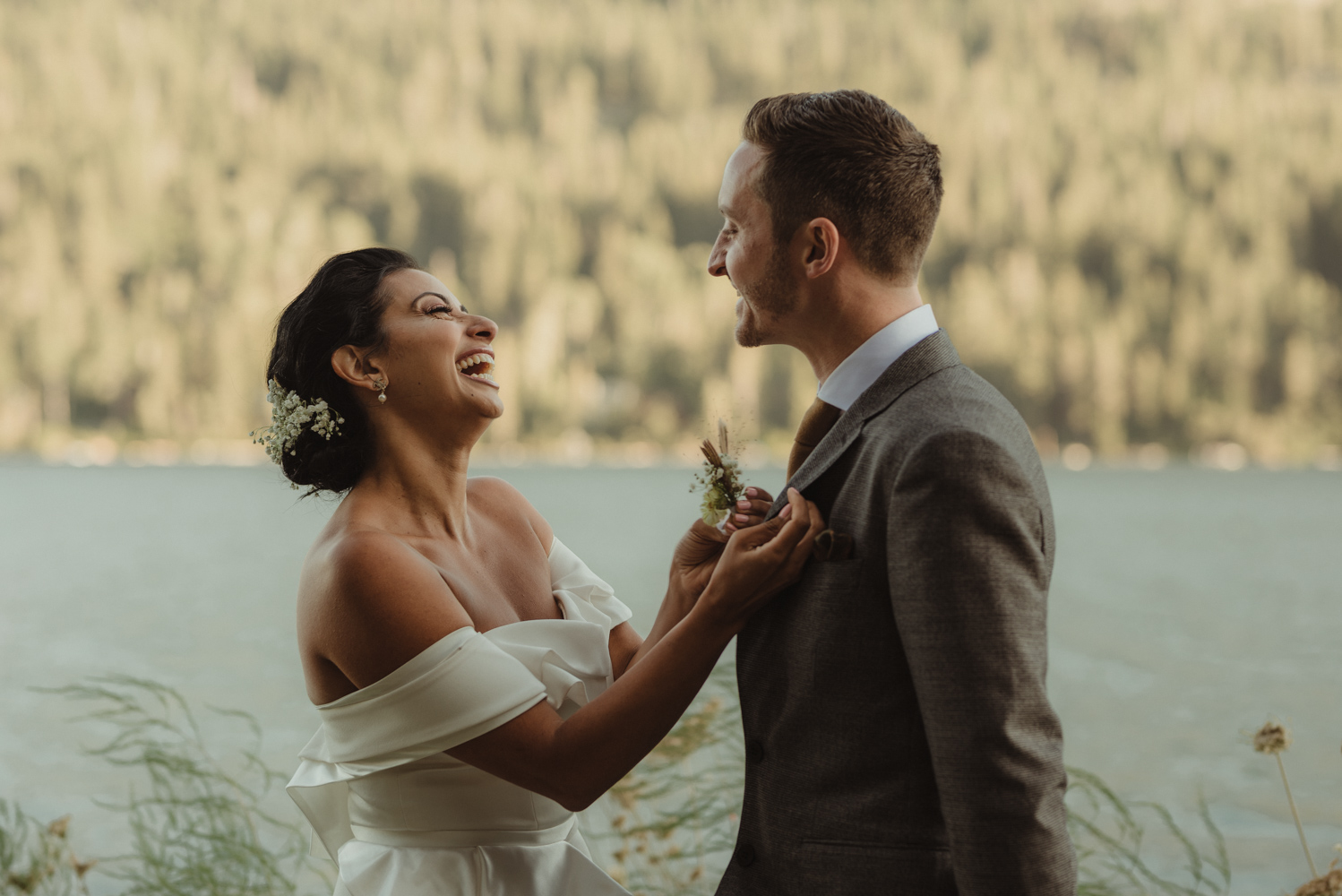 Lake Tahoe pop-up wedding/elopement couple before the ceremony photo