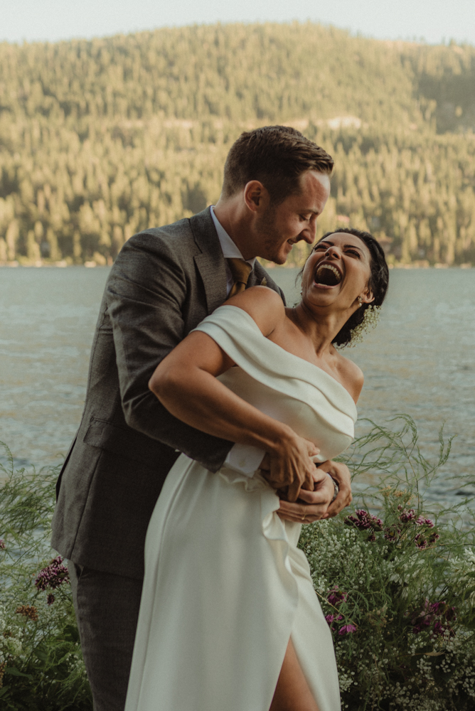 Lake Tahoe pop-up wedding/elopement couple hugging each other photo