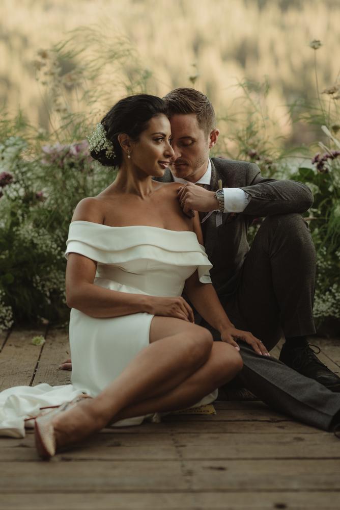 Lake Tahoe pop-up wedding/elopement couple looking like vogue models photo