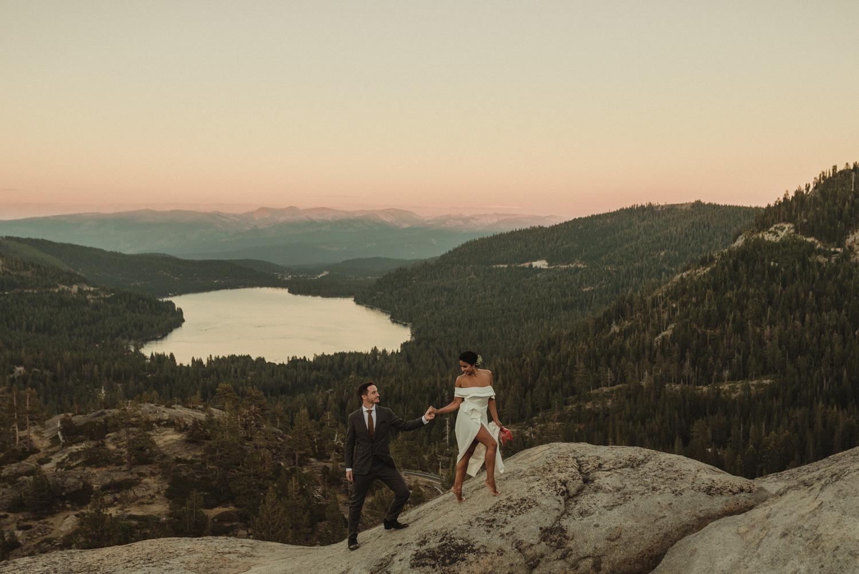 Lake Tahoe pop-up wedding/elopement barefoot bride photo