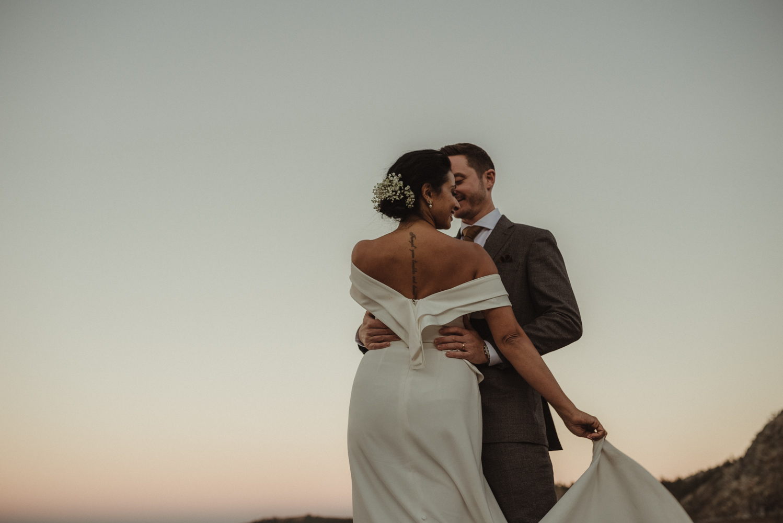 Lake Tahoe pop-up wedding/elopement couple at sunset photo