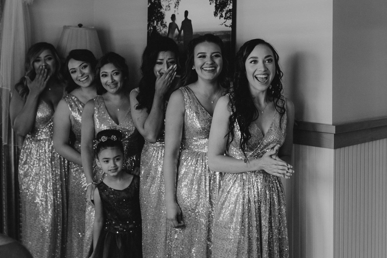 Rancho Victoria Vineyards wedding bridesmaids first look photo