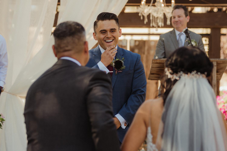 Ranch victoria vineyards wedding groom smiling at his bride photo