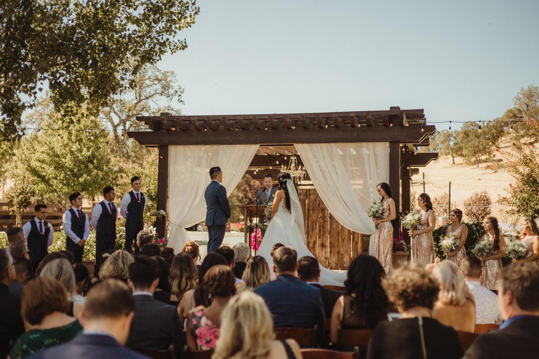 Ranch Victoria vineyard wedding ceremony wide-angle photo