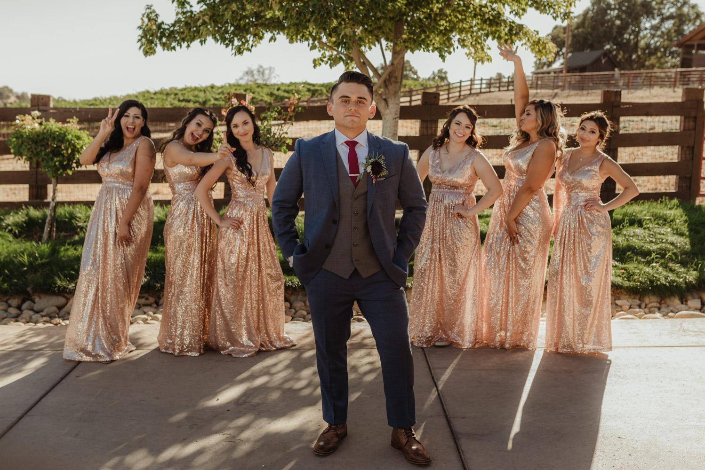Ranch Victoria vineyard wedding groom with the girls photo