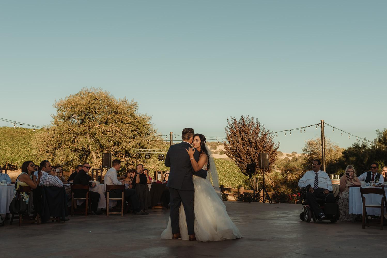 Ranch Victoria vineyard wedding first dance photo