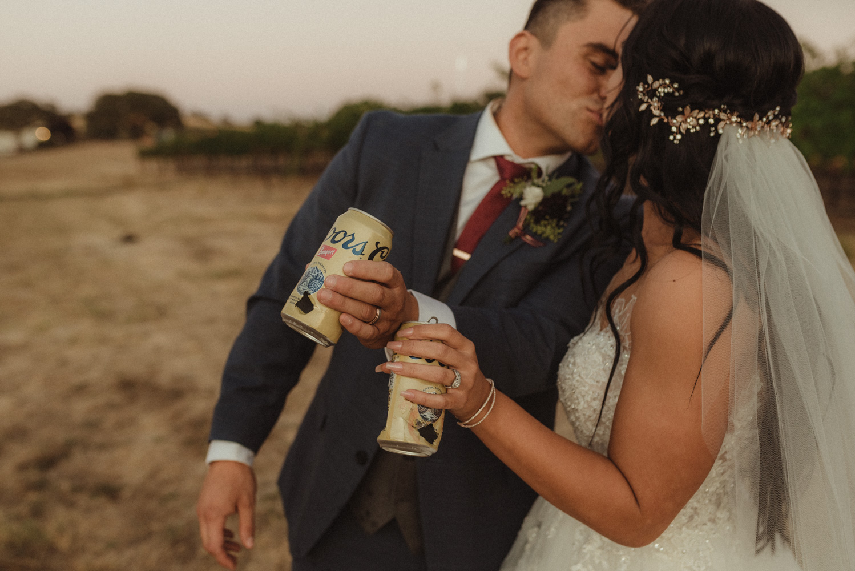 Ranch Victoria vineyard wedding beer photo