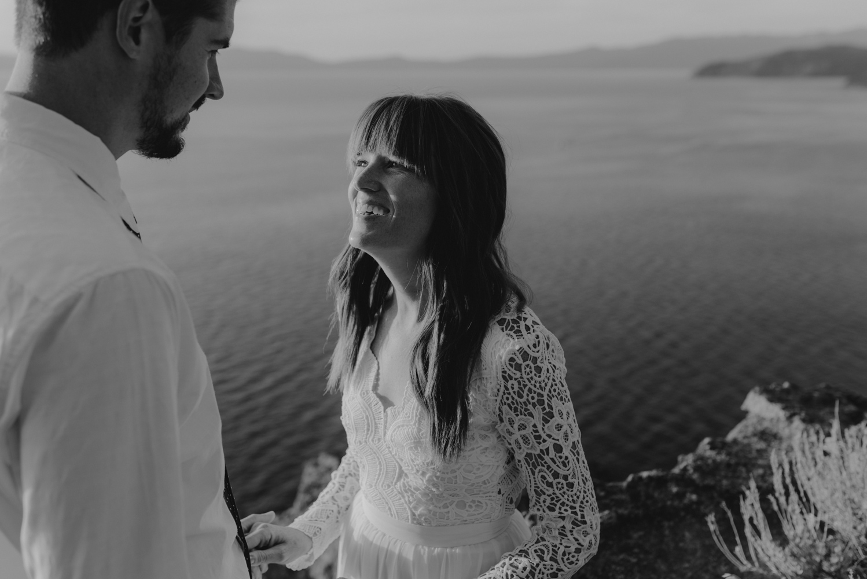Lake Tahoe vow renewal wife smiling at her husband photo