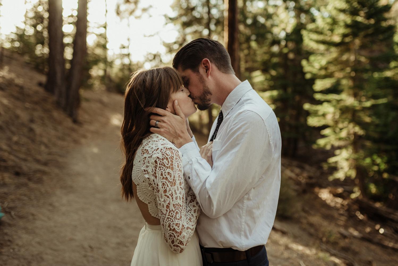 Lake Tahoe vow renewal couple kissing photo