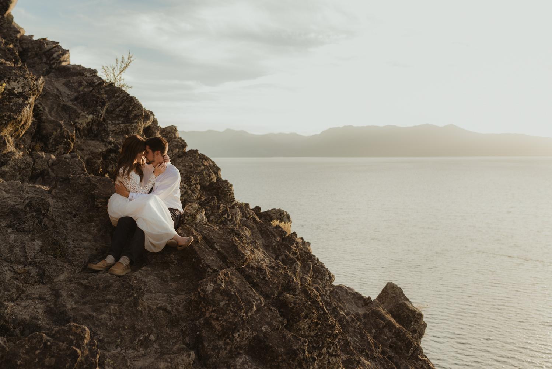 Lake Tahoe vow renewal couple enjoying sunset photo