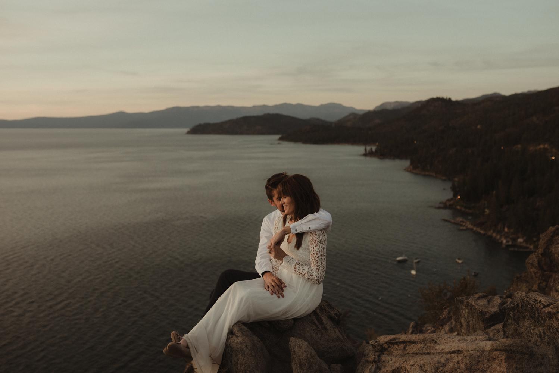 Lake Tahoe vow renewal sunset photo