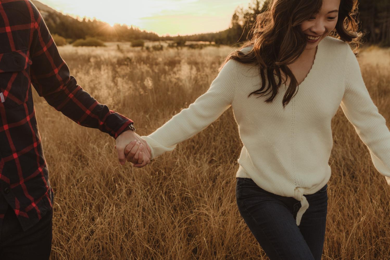 Tahoe meadows interpretive loop romantic sunrise session couple holding hands photo