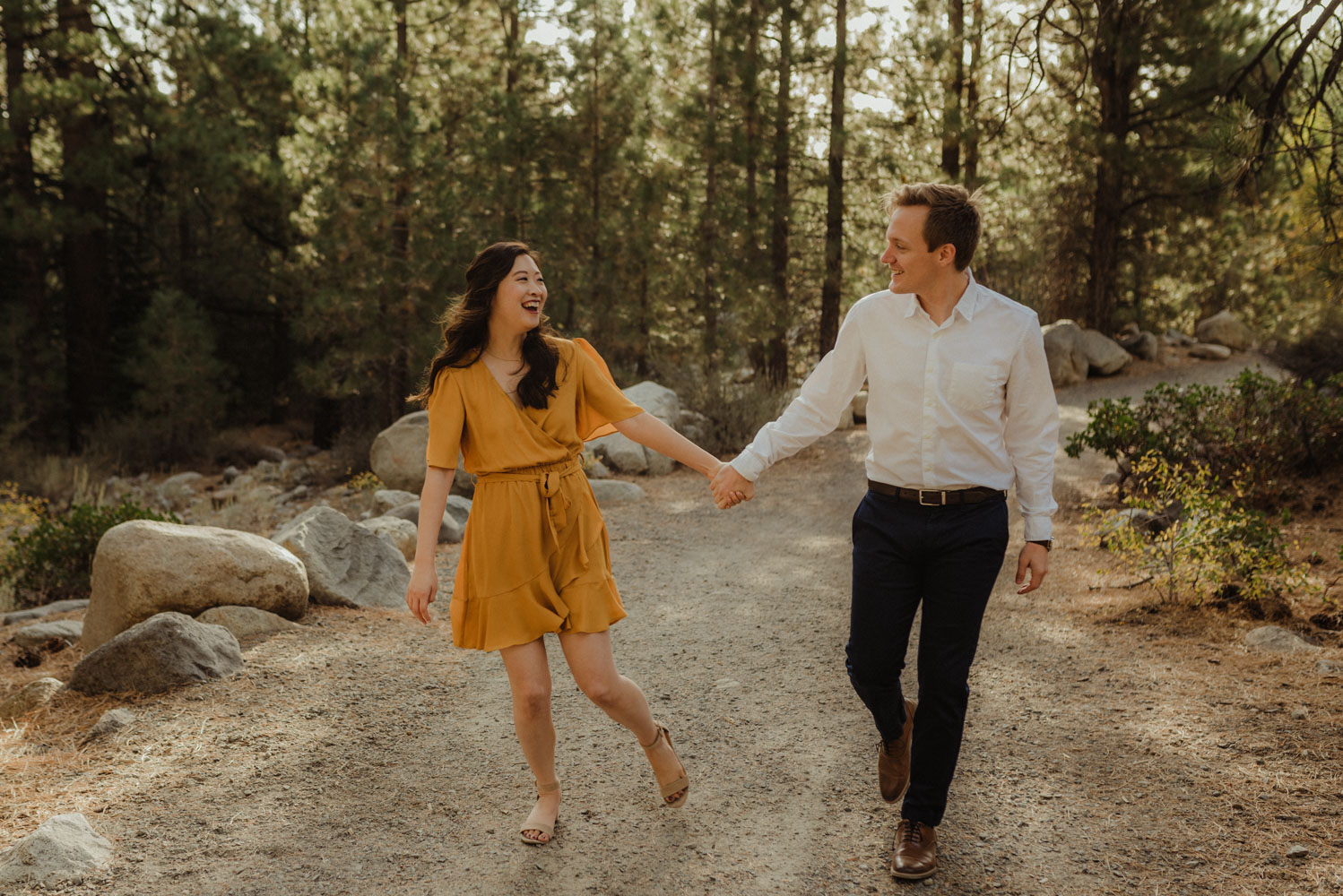 Galena Creek fall engagement session couple holding hands photo