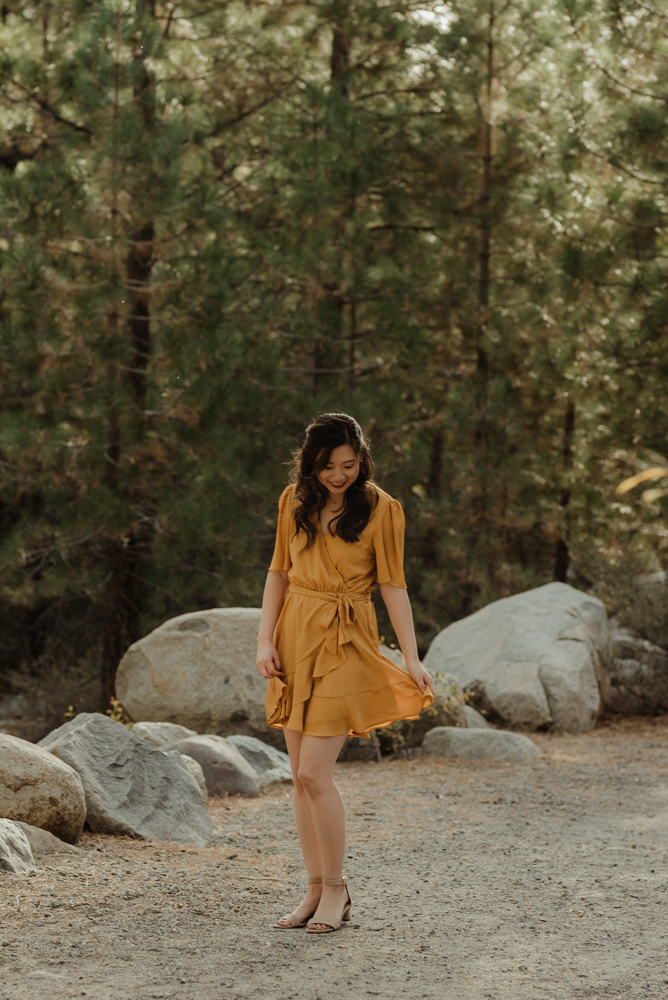 Galena Creek fall engagement session portrait of the bride to be