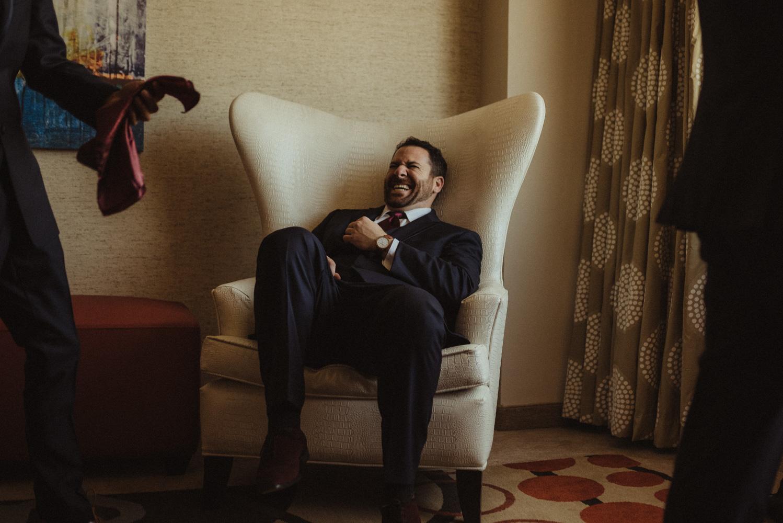 grand sierra wedding groom laughing photo
