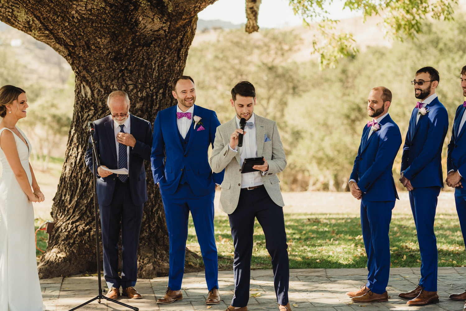 Triple S Ranch Wedding Venue, friend reading a poem during the ceremony photo