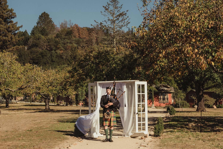 Triple S Ranch Wedding Venue, bagpiper at wedding photo