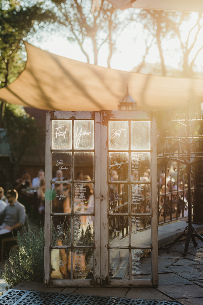 Calistoga Boutique Resort wedding, find your seat chart photo