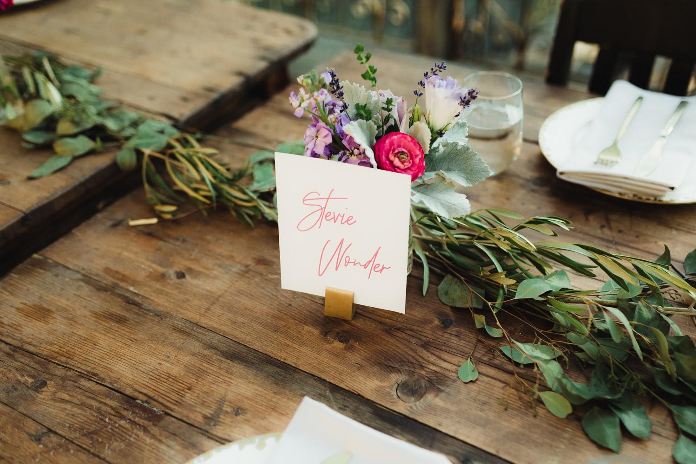 Calistoga Boutique Resort wedding, stevie wonder name tag photo