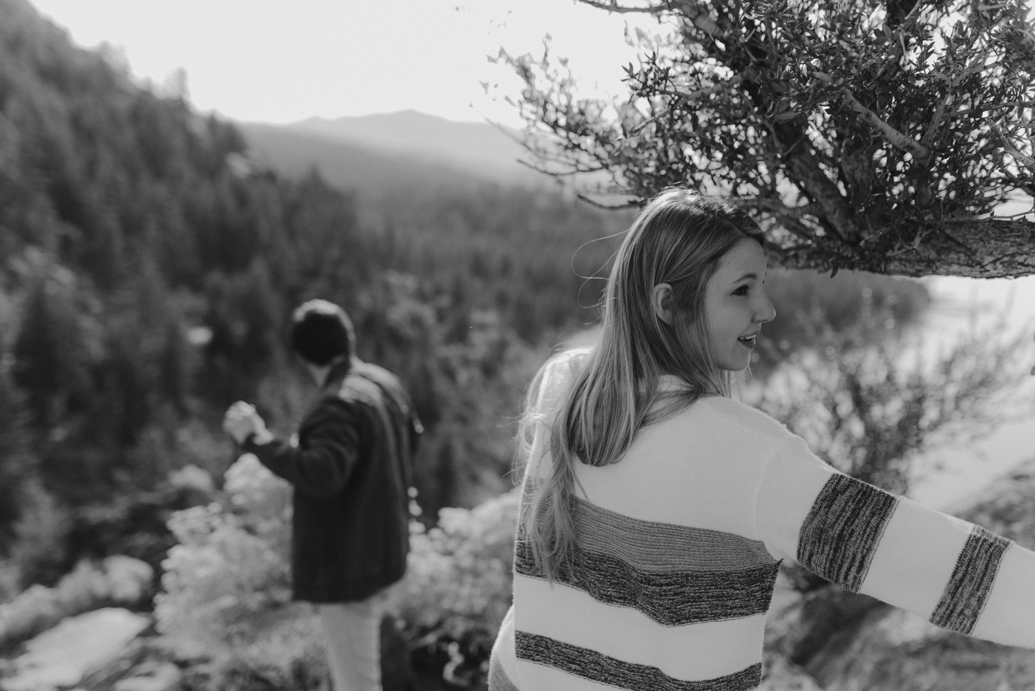 Cave Rock engagement session inspiration at Lake Tahoe, couple candid photo