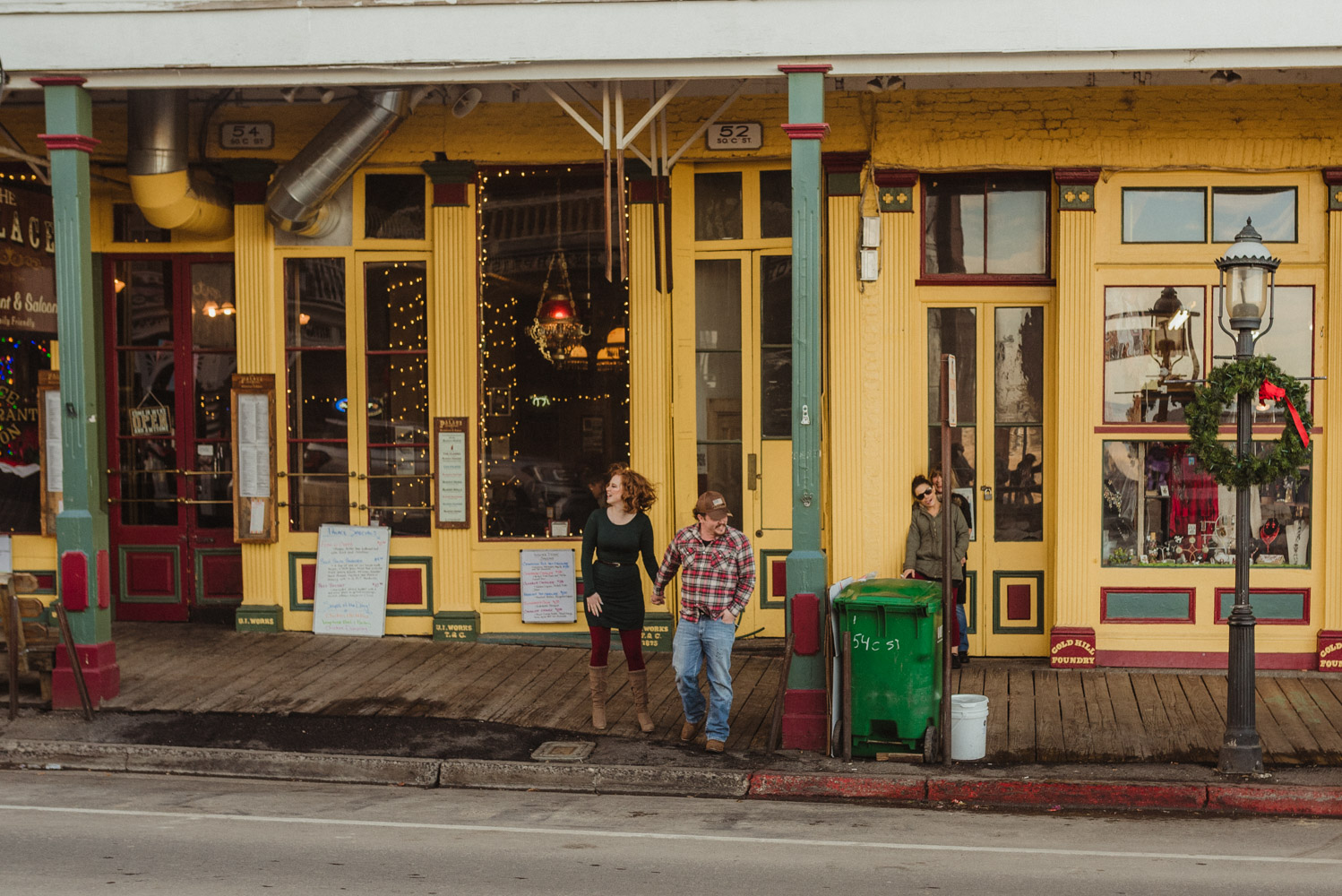 Virginia City Engagement session couple crossing the street photo