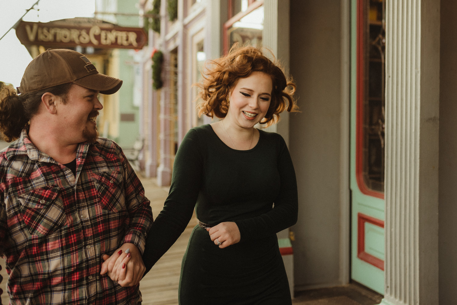 Virginia City Engagement session couple walking in the downtown area
