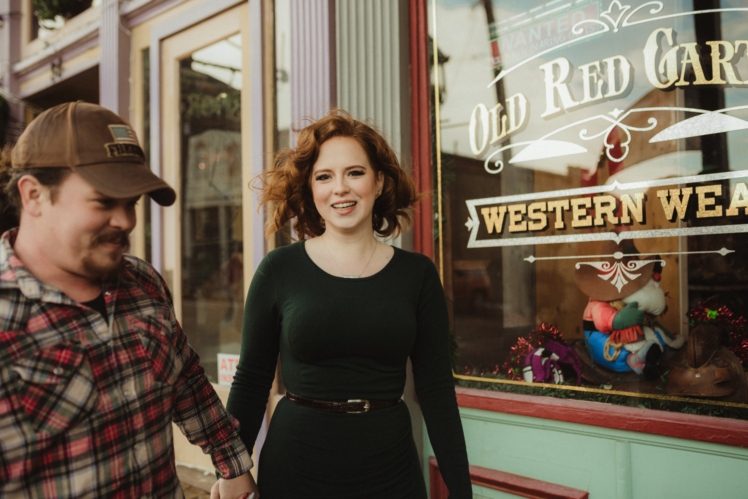 Virginia City Engagement session, couple holding hands photo