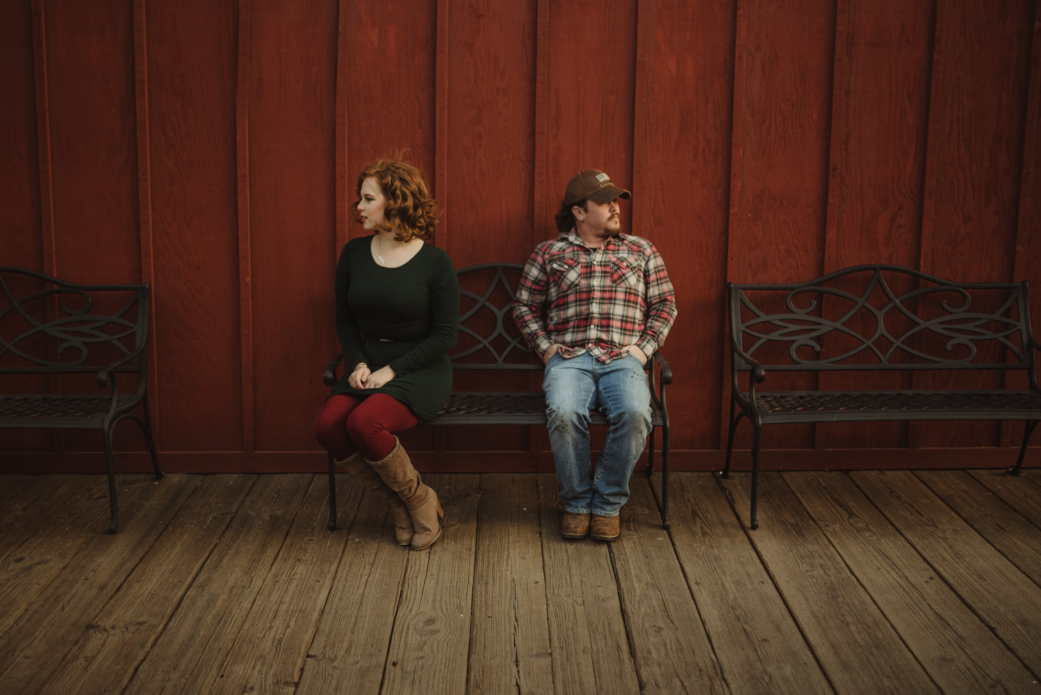Virginia City Engagement session, couple sitting on a bench photo