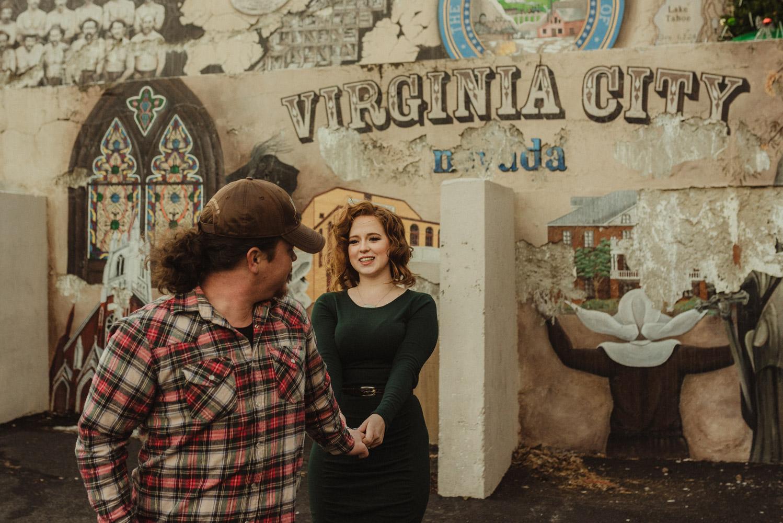 Virginia City Engagement session, couple playing around photo