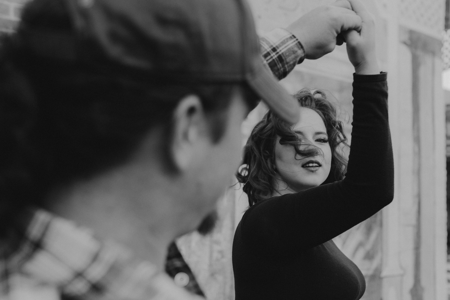 Virginia City Engagement session, black and white photo of a couple