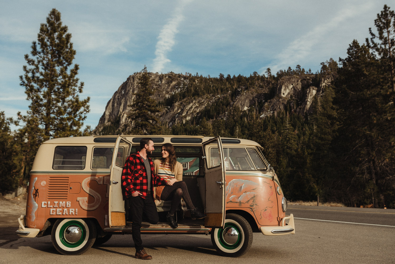 Strawberry California engagement session, couple sitting down in a VW bus