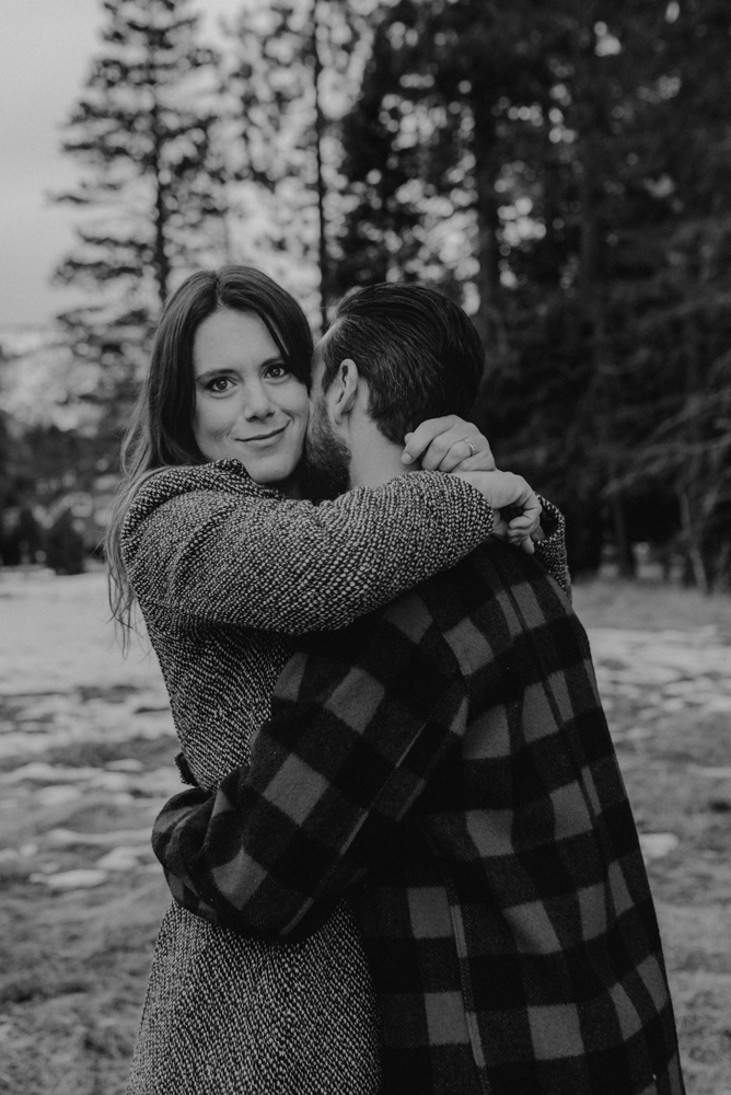 Strawberry California engagement session, couple hugging in the meadows photo