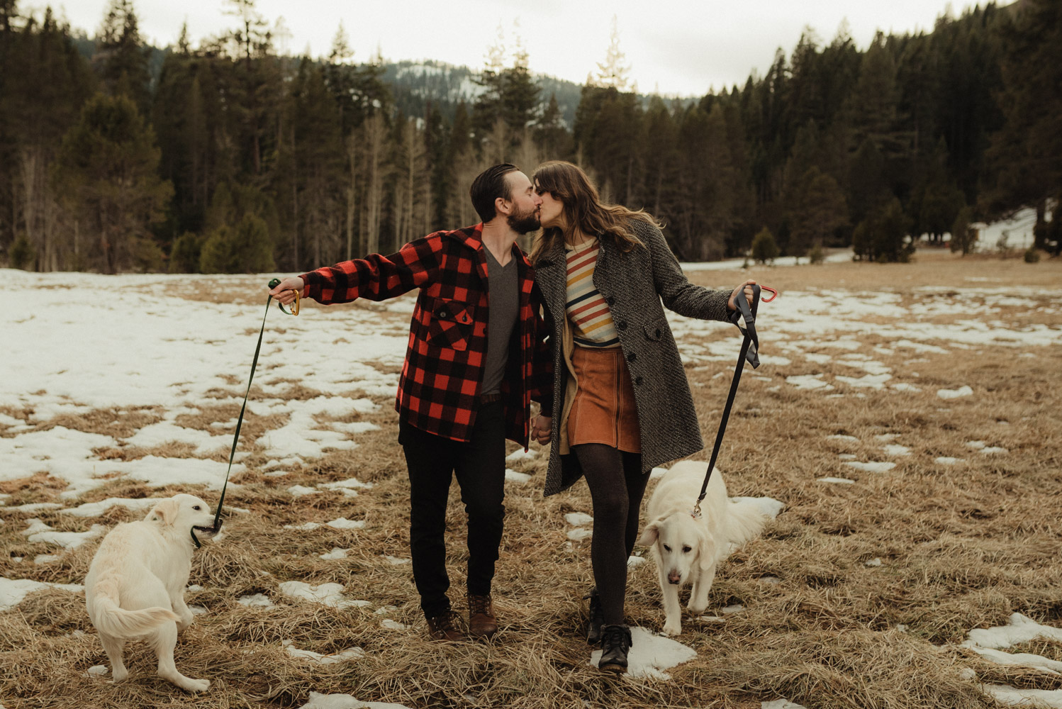 Strawberry California engagement session, couple walking their dogs in the meadows photo