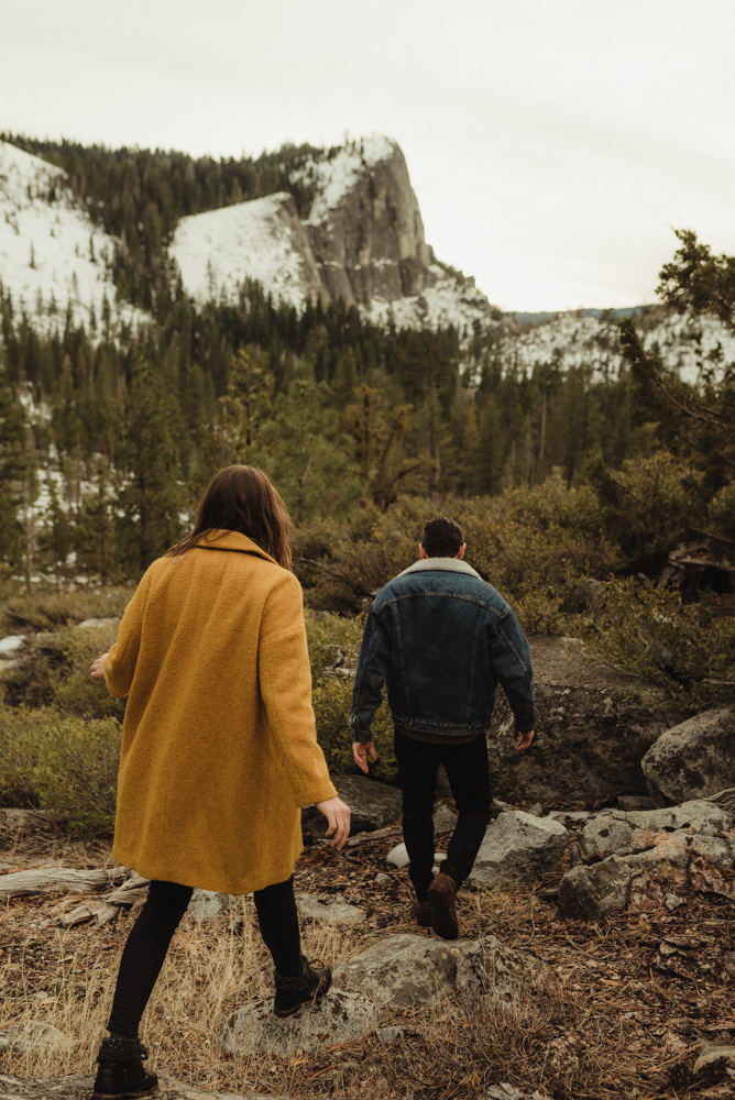 Lovers Leap engagement session couple walking on a trail photo