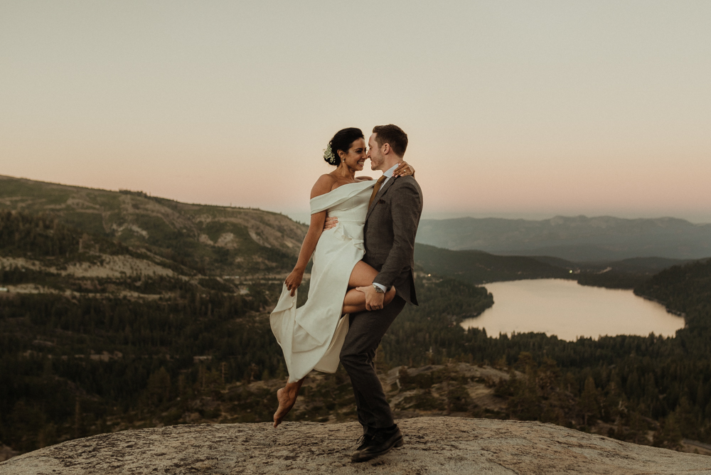 Donner Lake couples photo at sunset