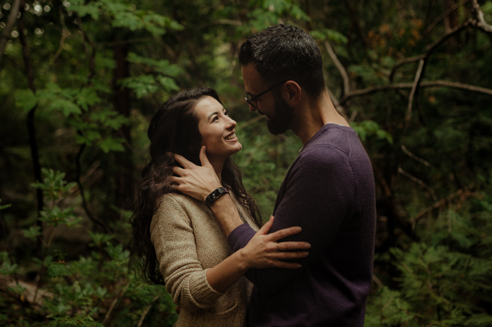 Lake Tahoe engagement photographer, couple in the forest photo