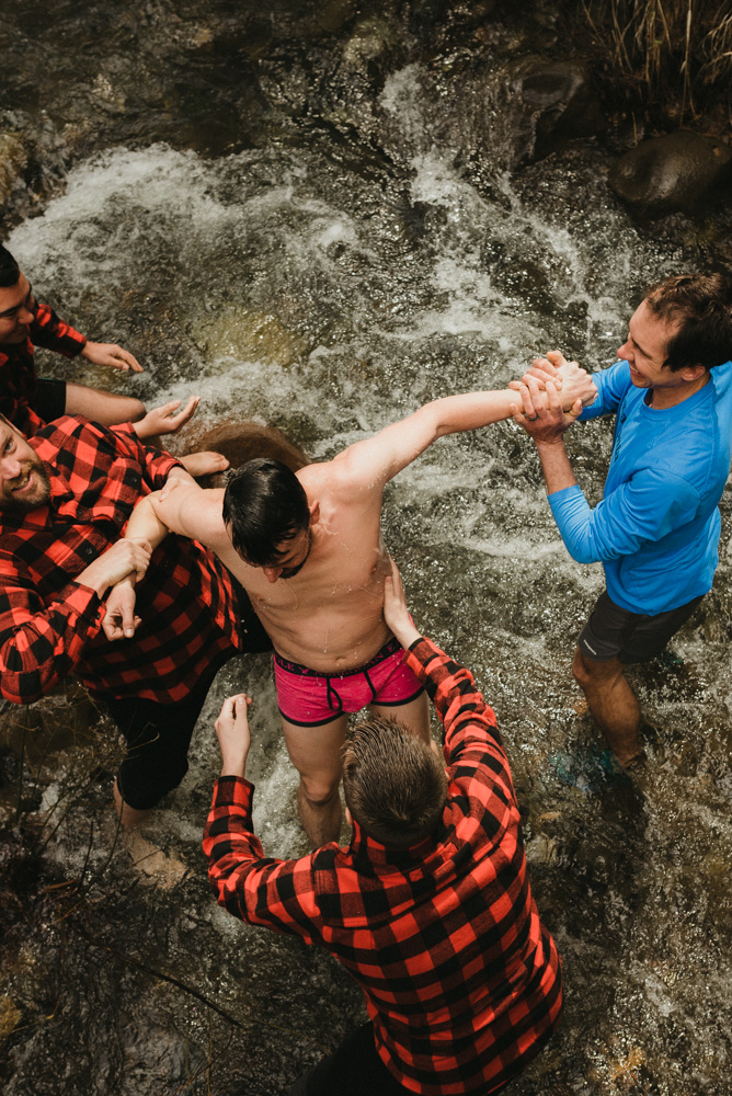 "Twenty Mile House Wedding in April, groom being ""baptized"" in the river photo"