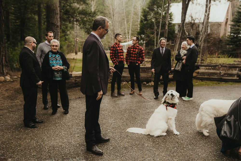 Twenty Mile House Wedding, brides dad holding her dog photo
