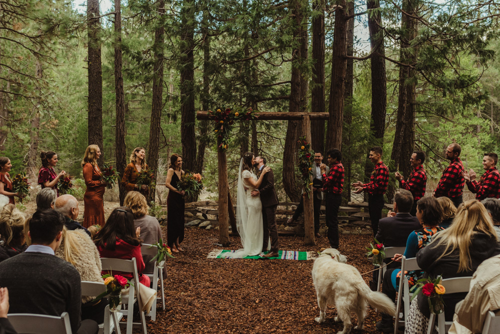Twenty Mile House Wedding, couples first kiss photo