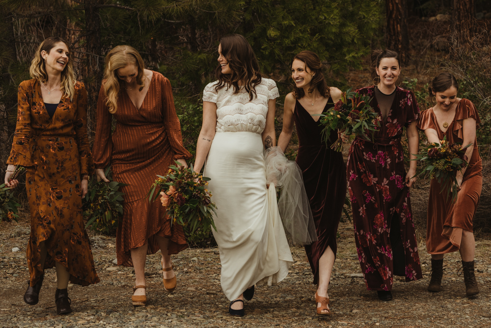 Twenty Mile House Wedding, bride with her bridesmaids photo