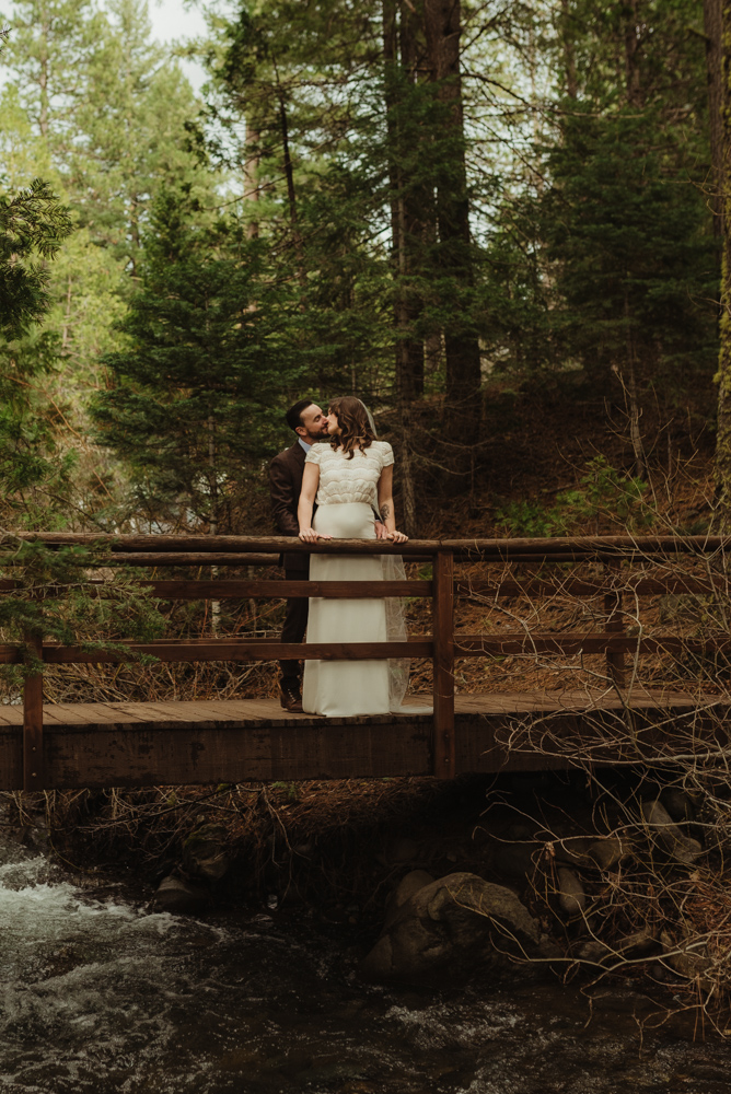 Twenty Mile House Wedding, couple on a bridge photo