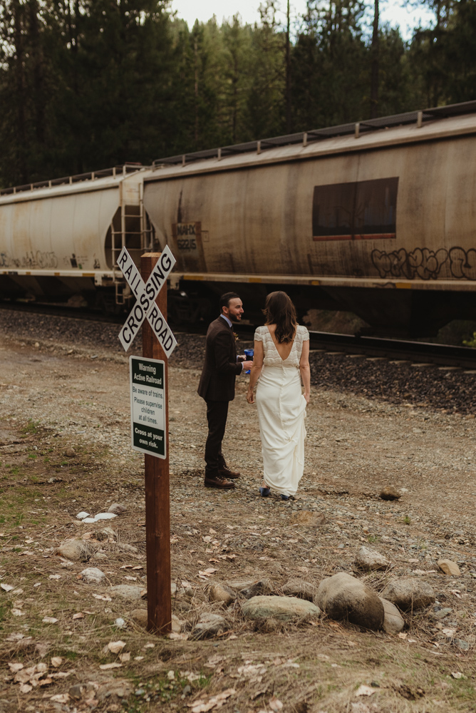 Twenty Mile House Wedding, couples photos by the train